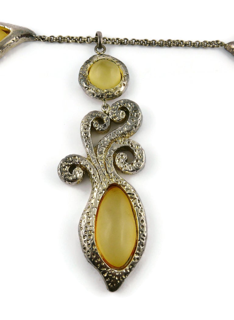 Dominique Denaive Vintage Silver Toned Yellow Resin Necklace and Earrings Set For Sale 2