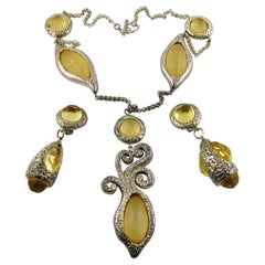 Dominique Denaive Vintage Silver Toned Yellow Resin Necklace and Earrings Set