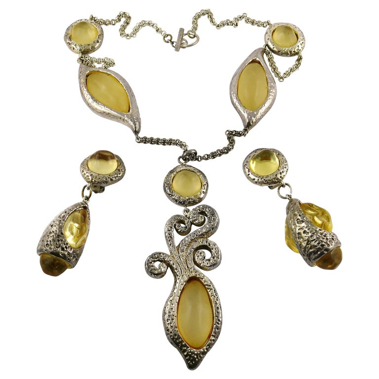 Dominique Denaive Vintage Silver Toned Yellow Resin Necklace and Earrings Set For Sale