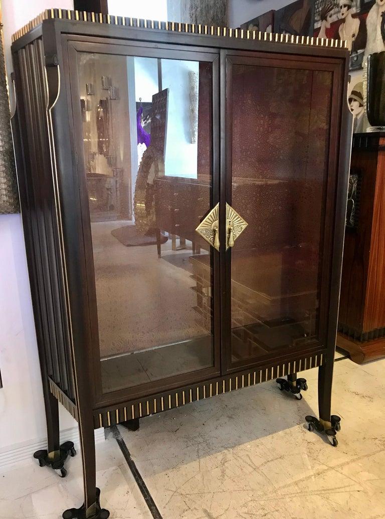 Wood Dominique French Art Deco Vitrine Showcase For Sale