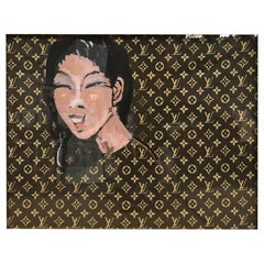 "Dominique Larrivaz ""Asian Woman"" Painting on Louis Vuitton Canvas, French, 2015"