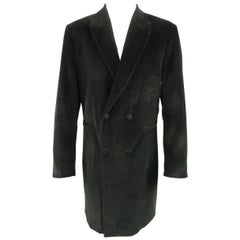 DOMINIQUE MORLOTTI 40 Black Nailhead Textured Velvet Peak Lapel Coat
