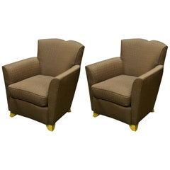 "Dominique Pair of ""Mustache"" Club Chairs"