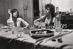 Mick Jagger & Keith Richards Dining, Photographic Fine Art Print, Black & White
