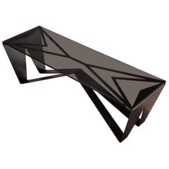 Domino Coffee Table in Blackened Steel Smoked Glass by Force/Collide