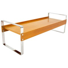 Domino Mobler Mid Century Chrome and Teak Bench
