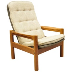 Domino Mobler Mid Century Danish Modern Teak Wood Upholstered Lounge Chair