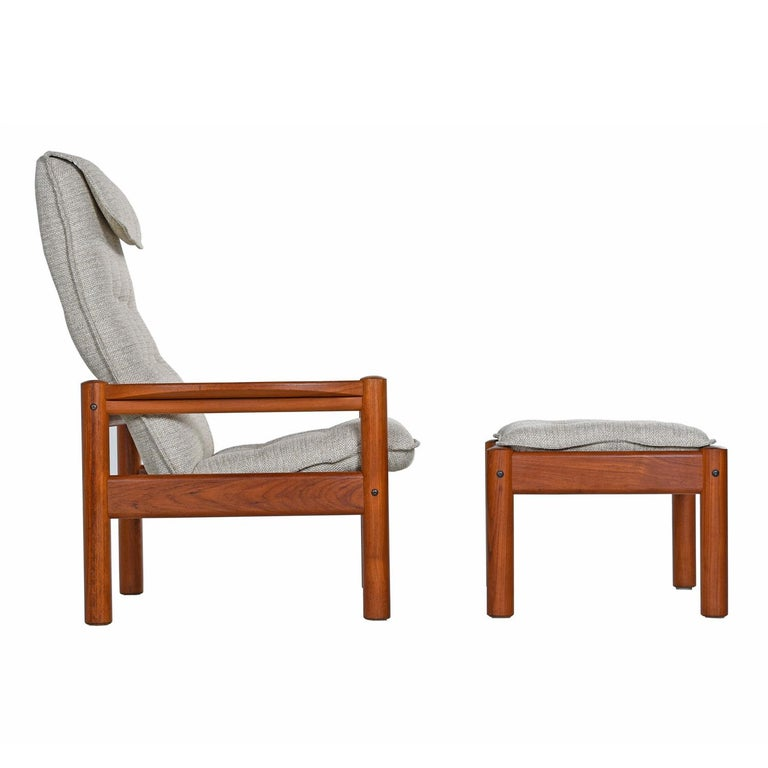 Domino Mobler Solid Teak Danish Modern Lounge Chairs And Ottomans