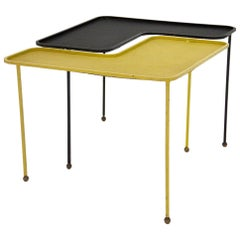 Domino Table Designed by Mathieu Matégot Black and Yellow Metal, circa 1950
