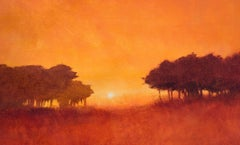 Cypress Trees Sunset, Painting, Acrylic on Canvas