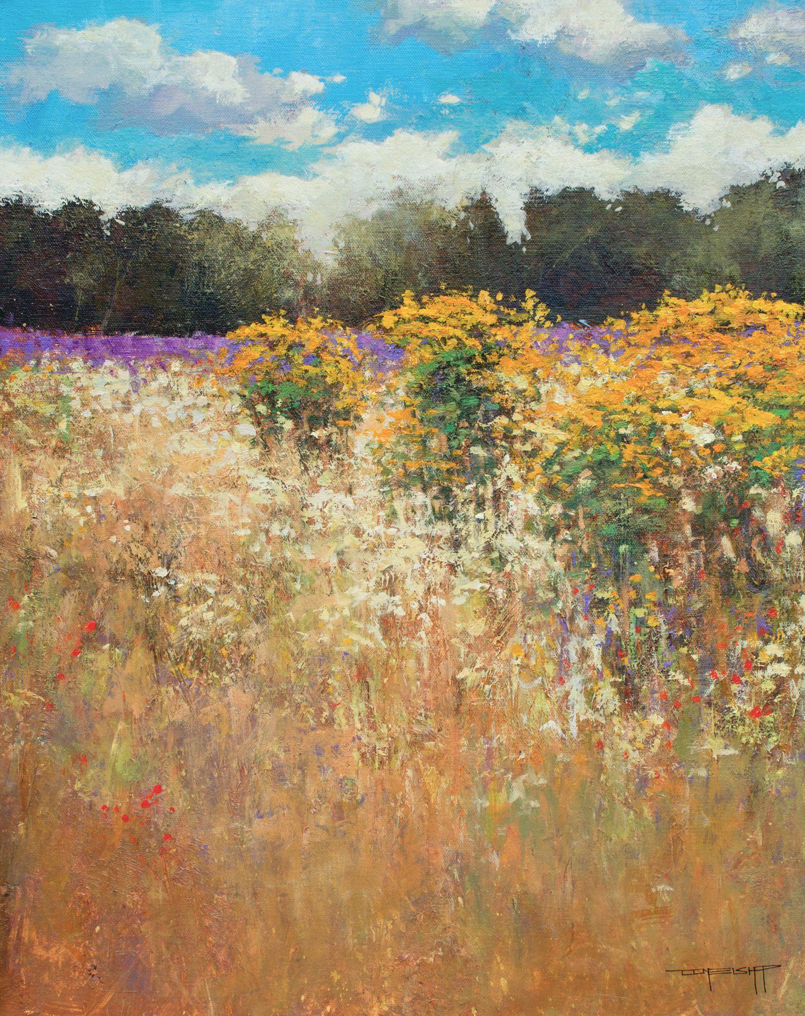 Don Bishop Gold And Lavender 190628 Painting Acrylic On Canvas For Sale At 1stdibs