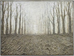 On the Edge: Black and White Abstracted Forest Landscape Painting, White Frame