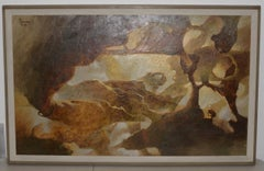 Mid Century Modern Abstract Painting by Don Clausen C.1959
