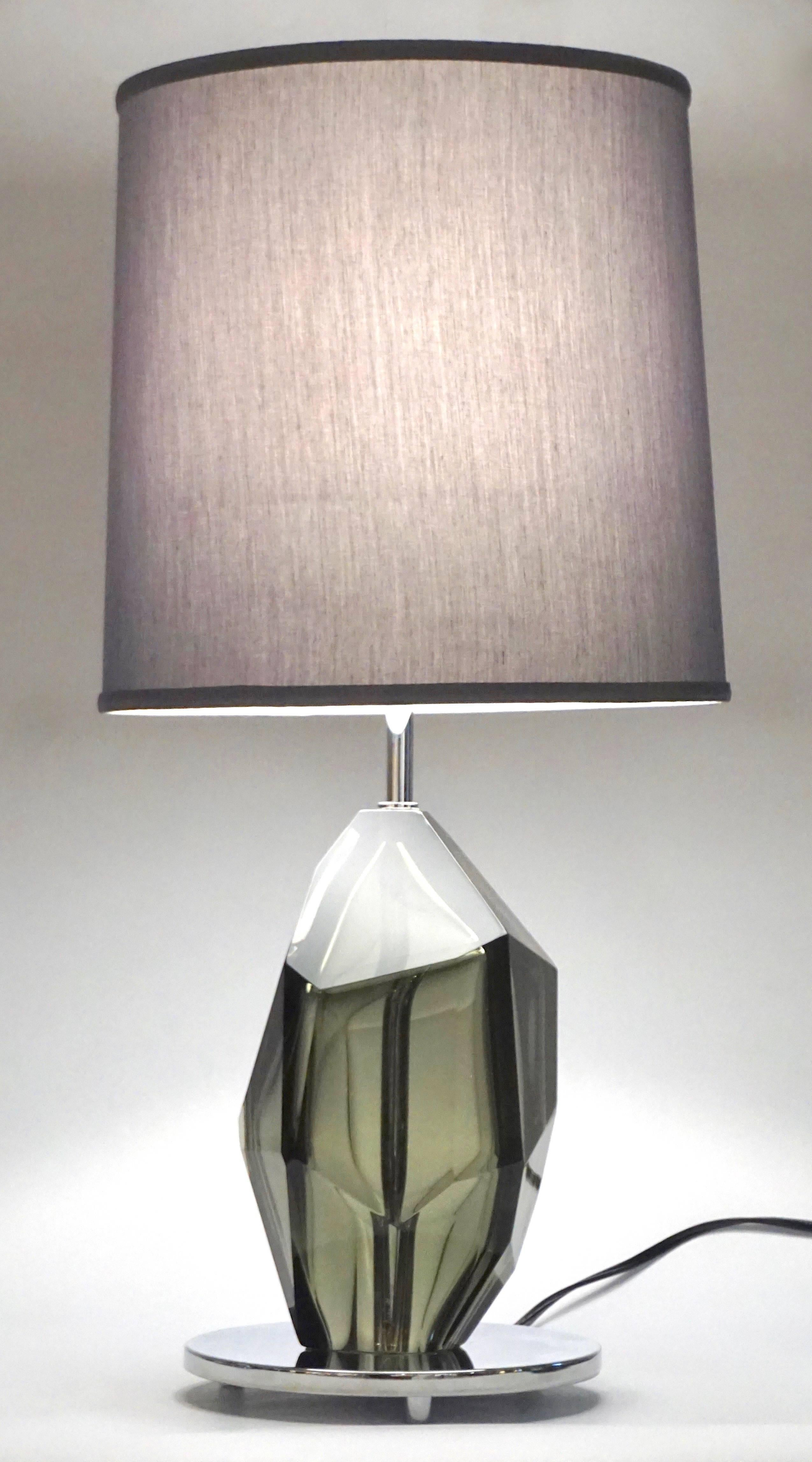 contemporary italian lighting. Donà Contemporary Italian Pair Of Faceted Solid Rock Smoked Murano Glass Lamps For Sale At 1stdibs Lighting