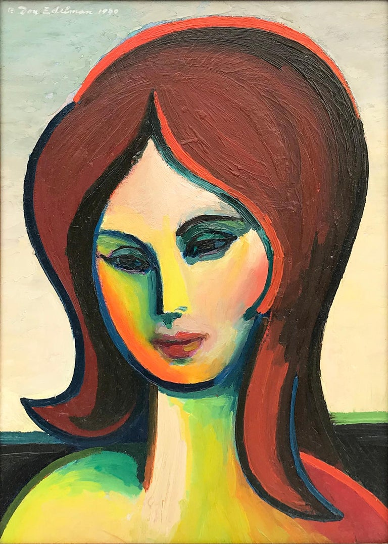 Untitled Portrait of a Woman - Painting by Don Edelman