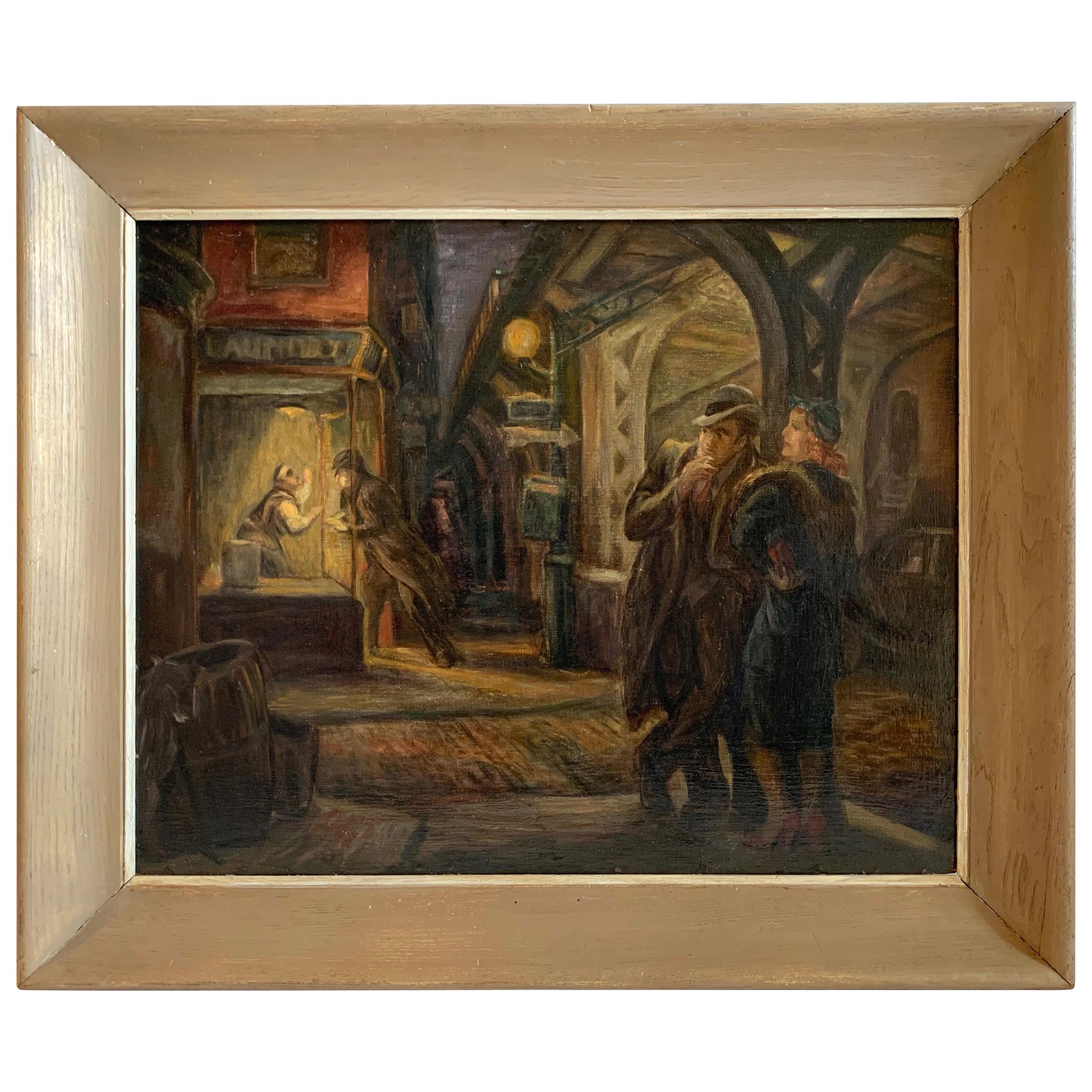 Don Freeman 'Under The El' American Realist Oil Painting