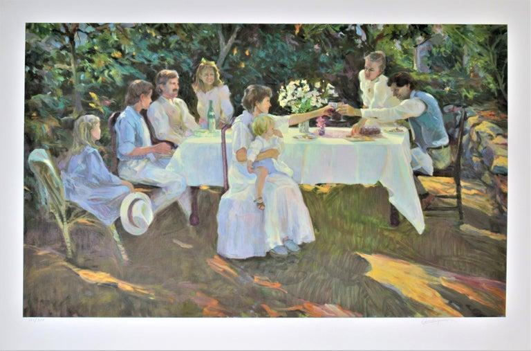 "Don Hatfield Figurative Print - ""Family Reunion"" Large original color serigraph"