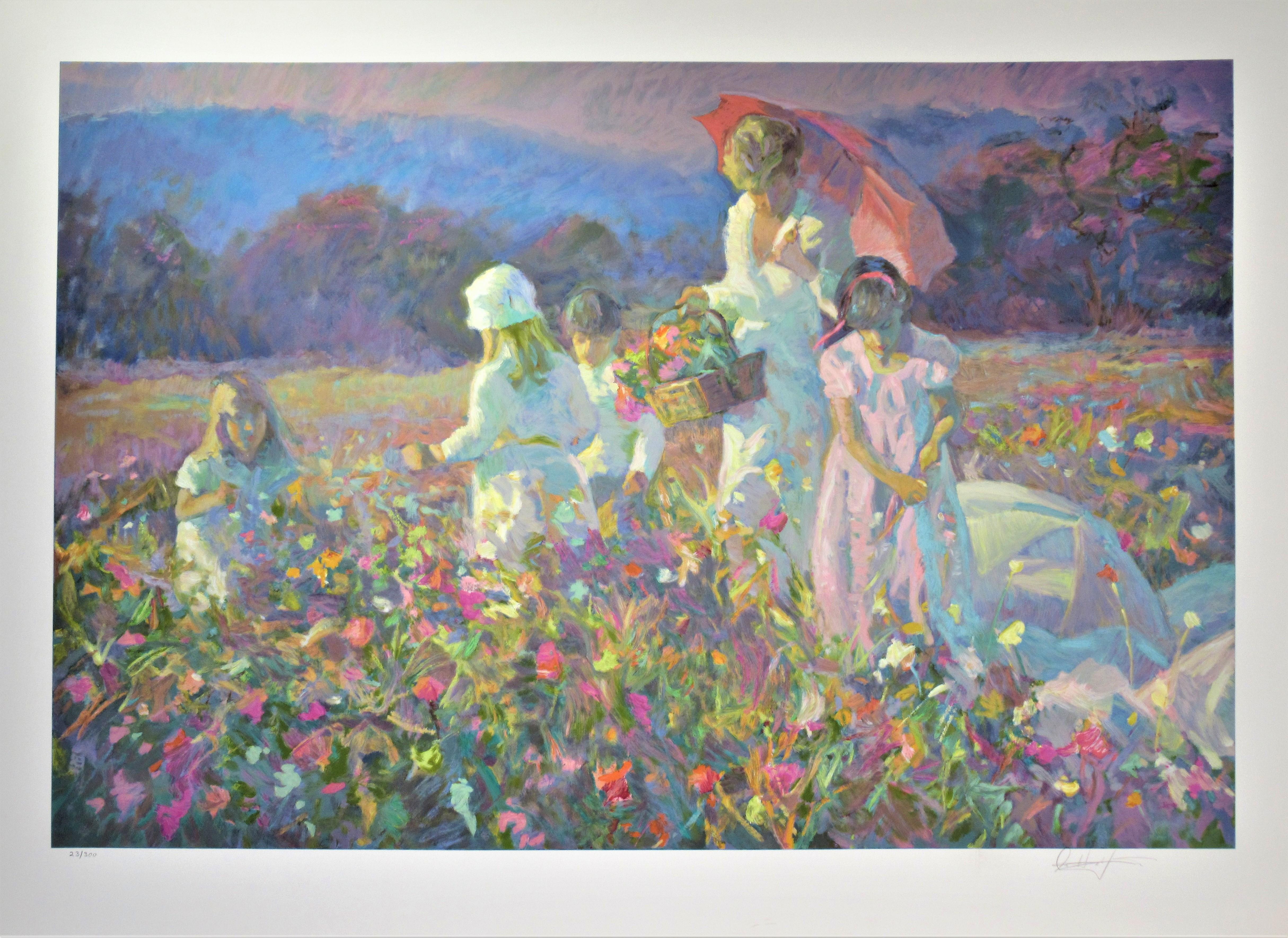 """Parasols and Wildflowers"" Large original color serigraph"