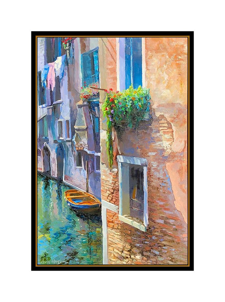 Don Hazen Original Oil Painting On Canvas Large Venice Cityscape Signed Artwork For Sale 1