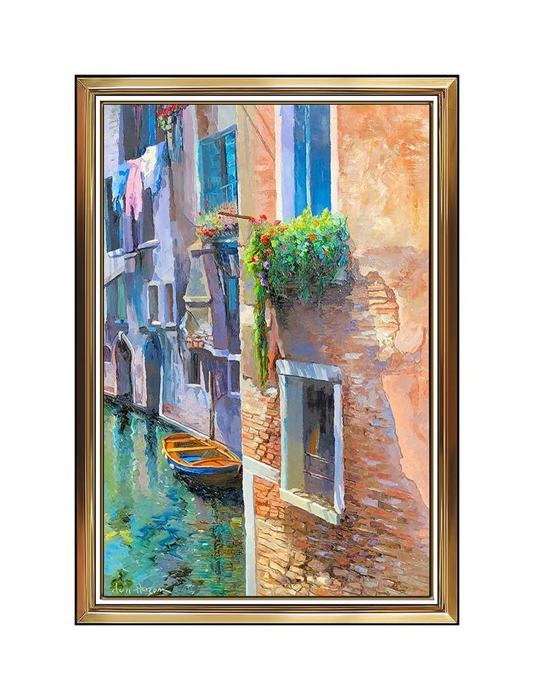 Don Hazen Original Oil Painting On Canvas Large Venice Cityscape Signed Artwork - Brown Landscape Painting by Don Hazen