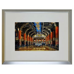 Don Jacot Lobby of the Fox Theatre Gouache Board Photo Realistic Painting Framed