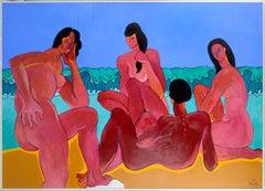Group of Reclining Bathers - Modernist Nude Figurative Landscape