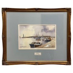 Don Micklethwaite Boats in a Harbour at Low Tide Watercolor on Paper British