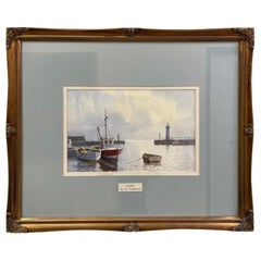 Don Micklethwaite Boats in a Harbour Watercolor on Paper British