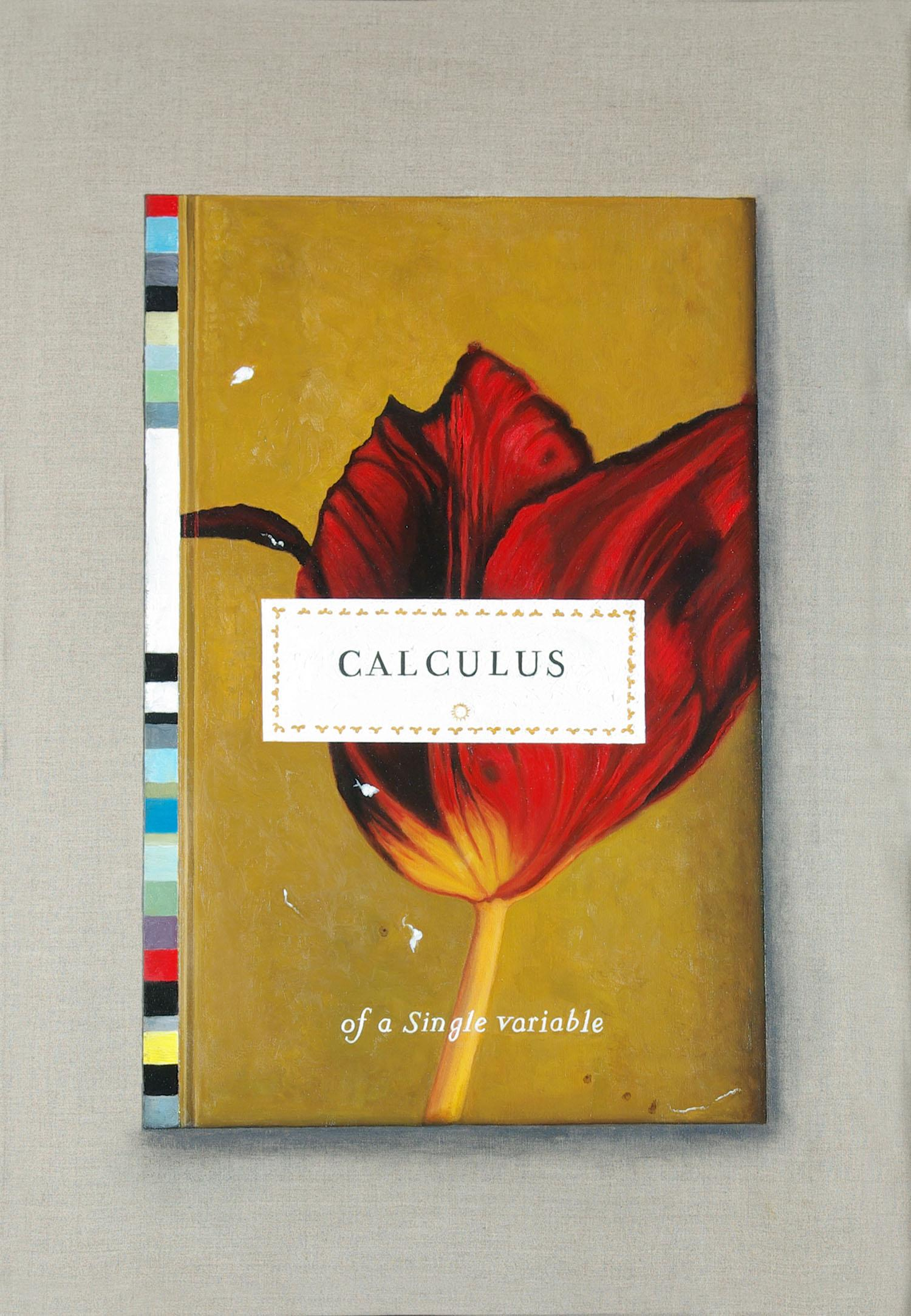 Calculus, Original Trompe L'oeil Painting of Classic Text Book With a Red Tulip