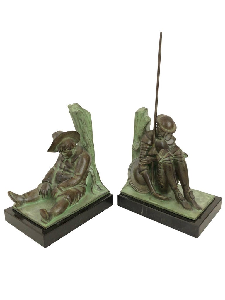 Patinated Don Quichotte and Sancho Panza Art Deco Bookends by Janle for Max Le Verrier For Sale