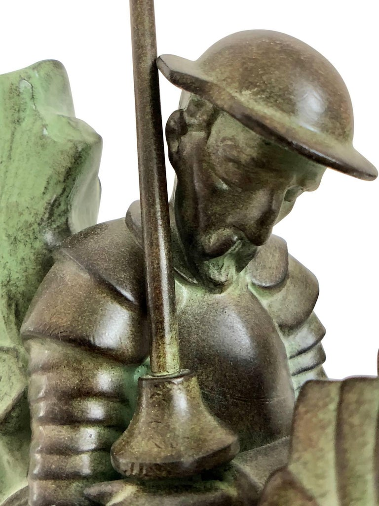 Spelter Don Quichotte and Sancho Panza Art Deco Bookends by Janle for Max Le Verrier For Sale