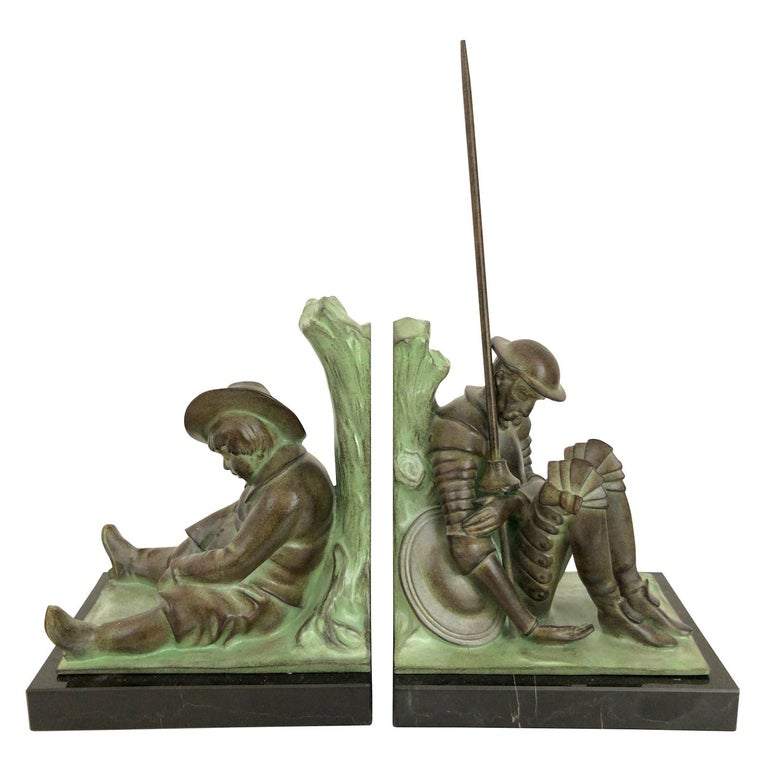 Don Quichotte and Sancho Panza Art Deco Bookends by Janle for Max Le Verrier For Sale