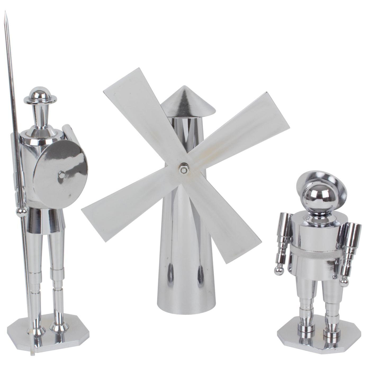 Don Quixote Sancho Panza and Windmill Machine Age Chrome Sculpture, a Trio