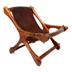 Don S Shoemaker Vintage Aged Leather Lounge Sloucher Sling Chair, Mexico