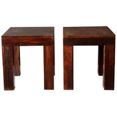 "Don Shoemaker 1970s ""Parsons"" Set of Side Tables Made of Tropical Wood"