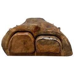 Don Shoemaker Carved Cocobolo Jewelry Keepsake Box 1960s Natural Organic Design