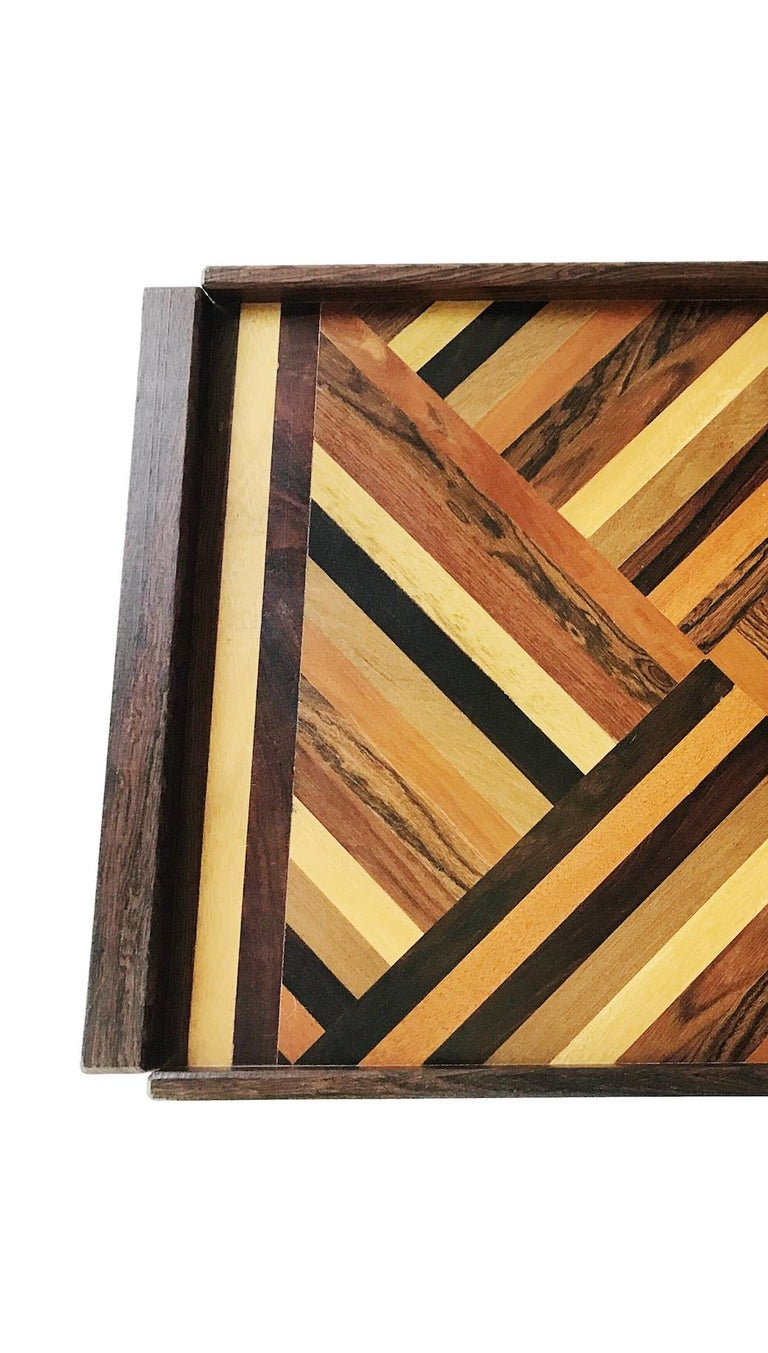 Mid-Century Modern Don Shoemaker Exotic Wood Inlaid Tray for Señal, circa 1970, Large Size Version For Sale