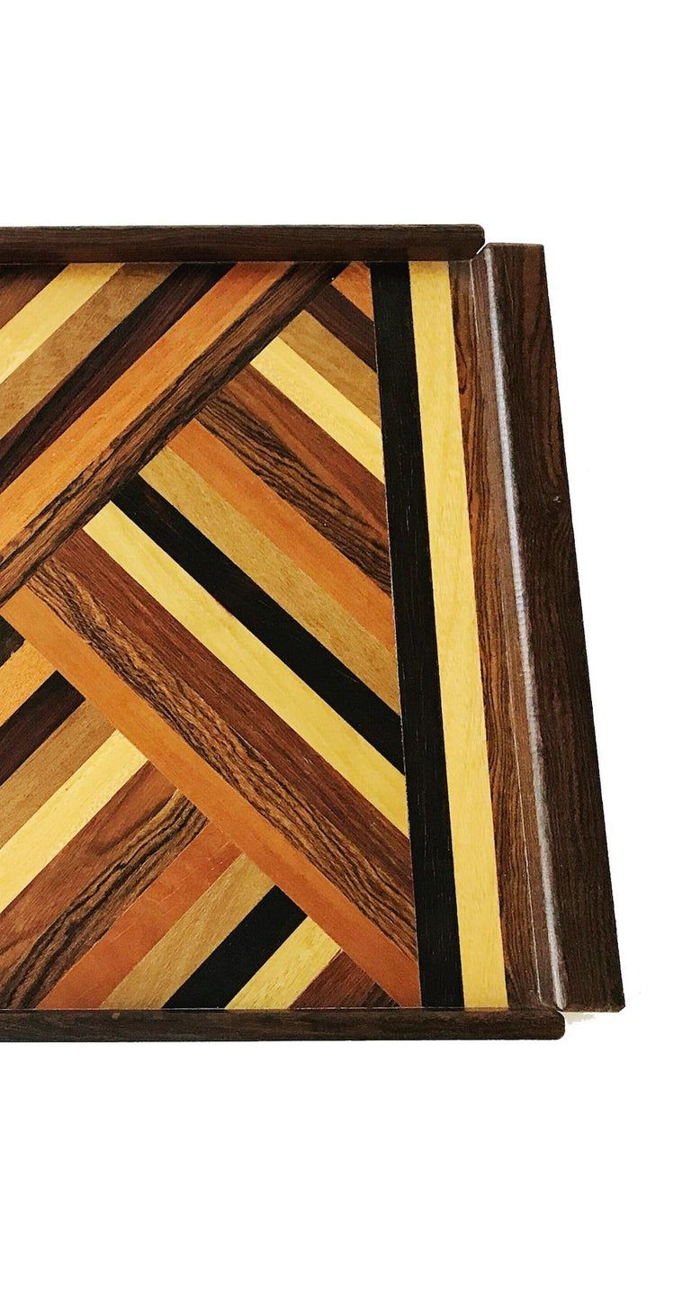 American Don Shoemaker Exotic Wood Inlaid Tray for Señal, circa 1970, Large Size Version For Sale