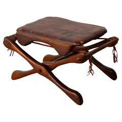 Don Shoemaker for Señal Folding Stool with Leather Seat
