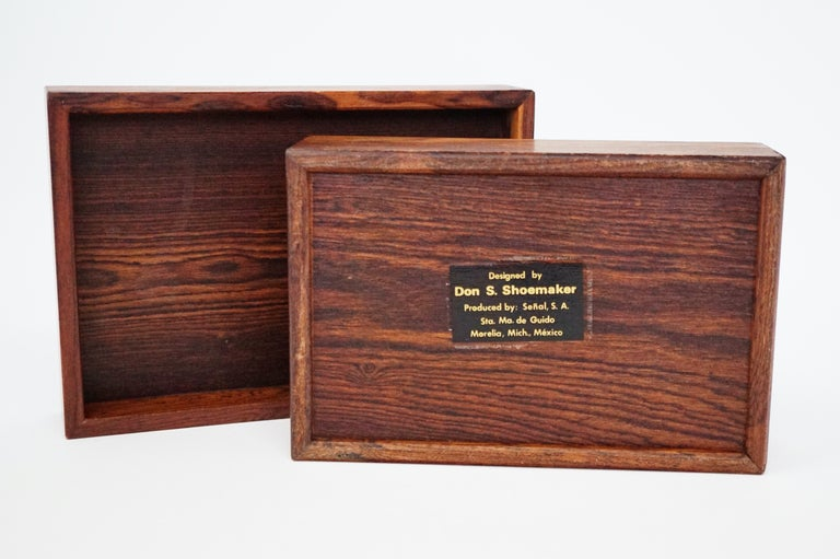 Mid-Century Modern Don Shoemaker for Senal S.A. Cocobolo Rosewood Lidded Catch-All Box, Signed For Sale