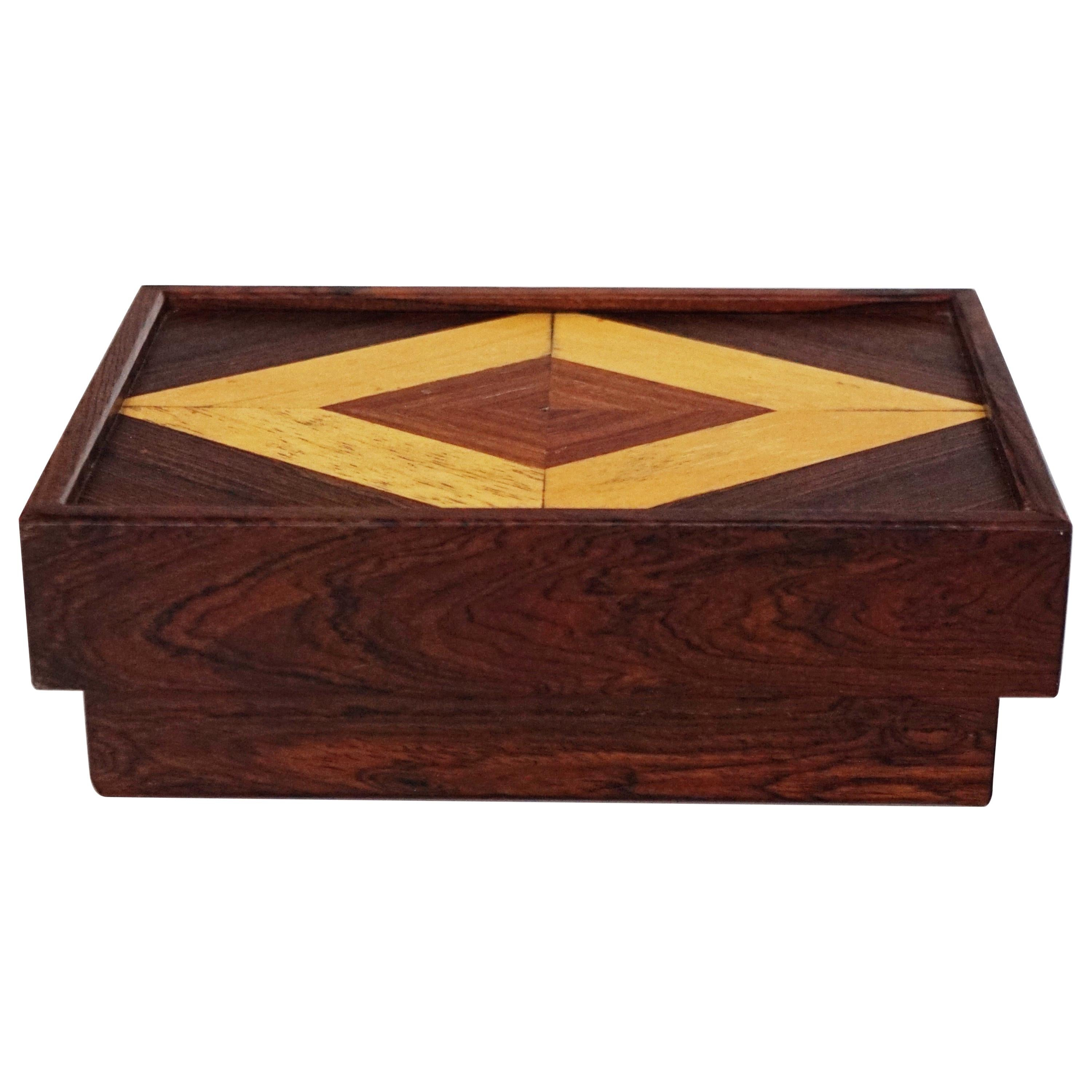 Don Shoemaker for Senal S.A. Cocobolo Rosewood Lidded Catch-All Box, Signed
