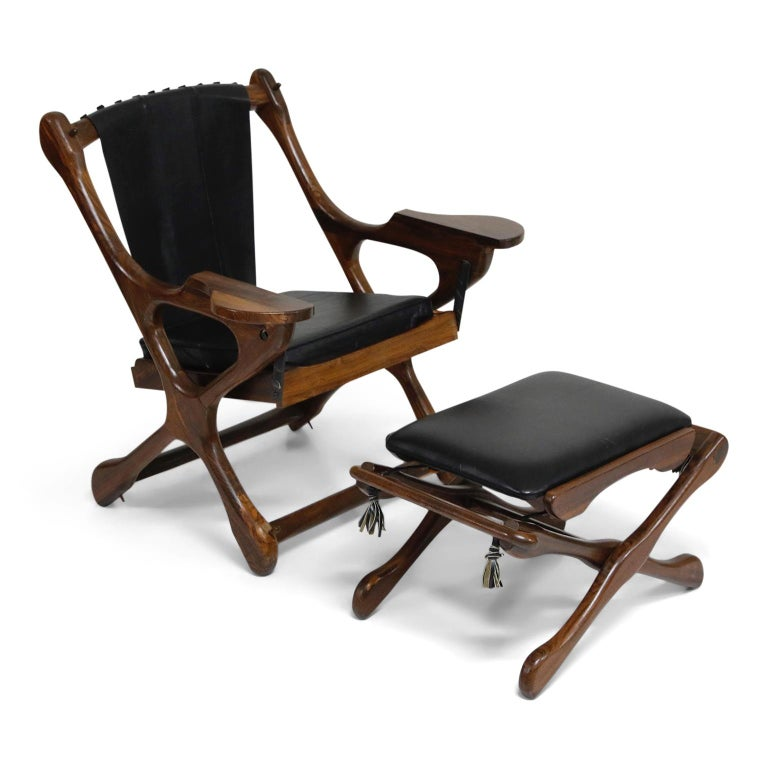 Don Shoemaker for Senal S.A. Cocobolo Rosewood Swinger Chair and Ottoman, Signed For Sale 4