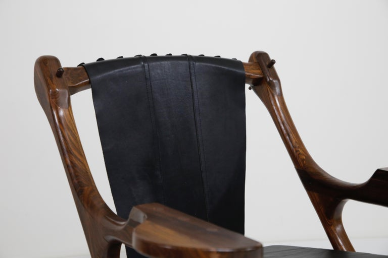 Don Shoemaker for Senal S.A. Cocobolo Rosewood Swinger Chair and Ottoman, Signed For Sale 5
