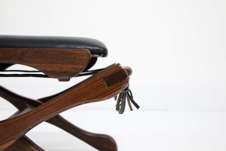 Don Shoemaker for Senal S.A. Cocobolo Rosewood Swinger Chair and Ottoman, Signed For Sale 8