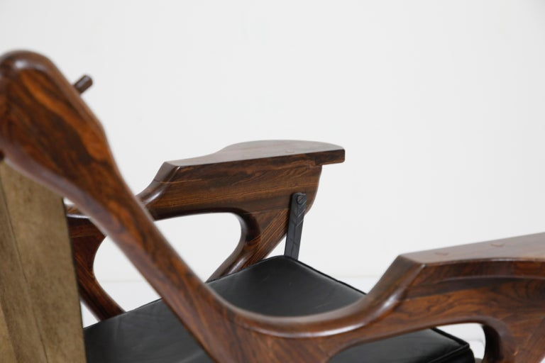 Don Shoemaker for Senal S.A. Cocobolo Rosewood Swinger Chair and Ottoman, Signed For Sale 10