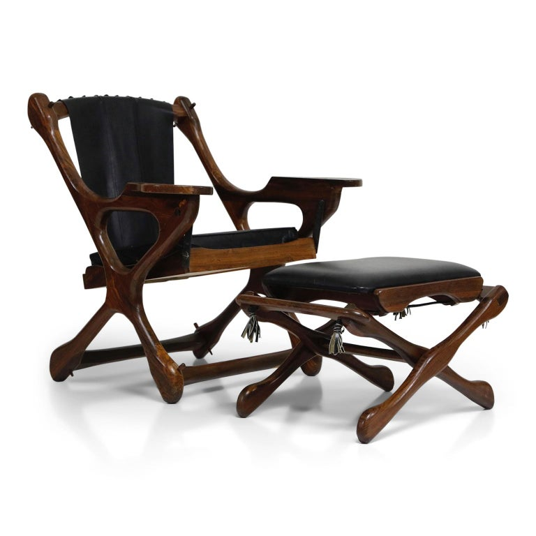 Mid-Century Modern Don Shoemaker for Senal S.A. Cocobolo Rosewood Swinger Chair and Ottoman, Signed For Sale