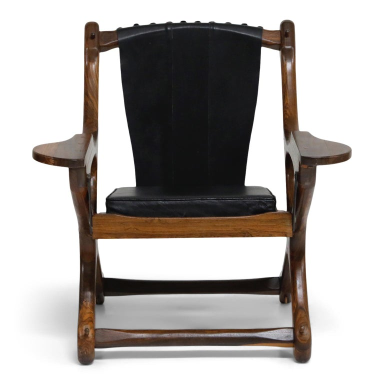 American Don Shoemaker for Senal S.A. Cocobolo Rosewood Swinger Chair and Ottoman, Signed For Sale