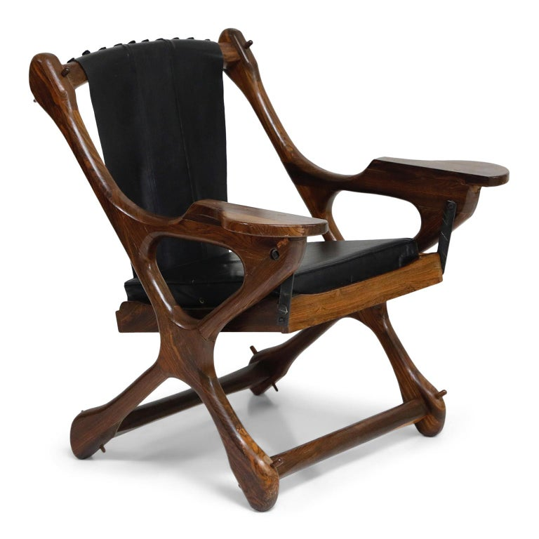 Don Shoemaker for Senal S.A. Cocobolo Rosewood Swinger Chair and Ottoman, Signed In Good Condition For Sale In Los Angeles, CA
