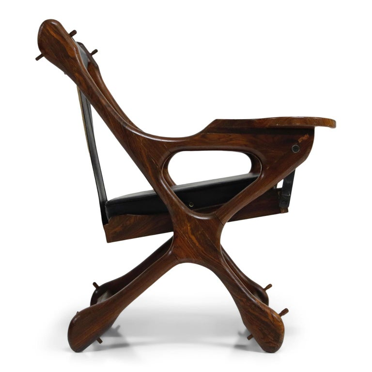 Mid-20th Century Don Shoemaker for Senal S.A. Cocobolo Rosewood Swinger Chair and Ottoman, Signed For Sale