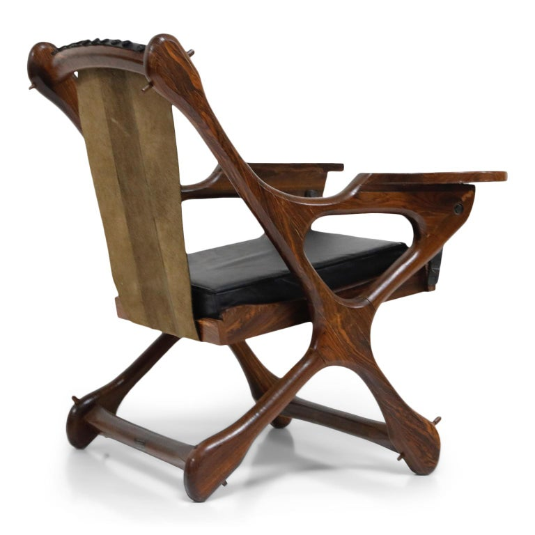 Leather Don Shoemaker for Senal S.A. Cocobolo Rosewood Swinger Chair and Ottoman, Signed For Sale